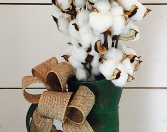 Watering can, cotton arrangement, cotton stems, vintage decor, rustic watering can, christmas corton decor, christmas arrangement, gift
