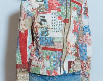 VINTAGE 90s Denim Multi-Color Jacket