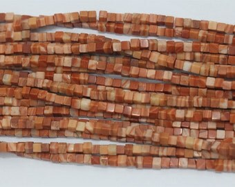 "Natural Genuine Red Malachite Cube Square Shape Beads 15"" 03705"