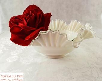 Milk Glass Centerpiece Bowl | Fenton Silver Crest  | Petticoat Glass