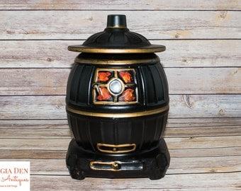 Vintage Ceramic Cookie Jar   McCoy USA Pottery   Rustic Kitchen Decor