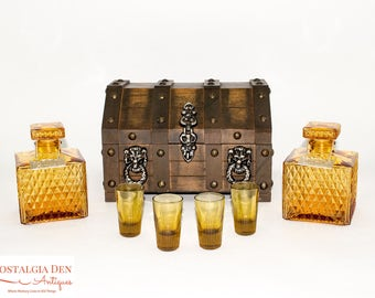 Vintage Whiskey Decanter Set | Royal Craft Barware - Wood Treasure Chest | Amber Glass Decanters and Shot Glasses