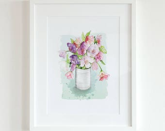 Watercolour floral fine art print   Archival quality giclee   Flower painting   Wall art   Birthday present   Gardener's present