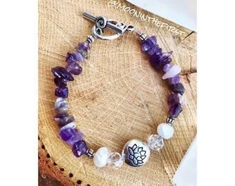 Amethyst Zen Lotus Bracelet