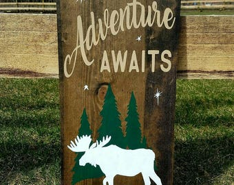 Adventure Awaits wood sign- Nursery/Moose/Outdoors/Stars/Rustic/Country/Home Decor/Bedroom