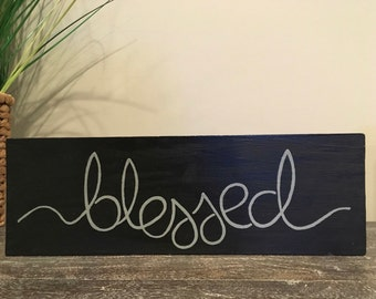 Blessed hand painted wood sign