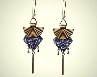long earrings elegant, Japanese-inspired, White Christmas polka dots