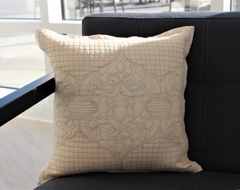 SALE 30% OFF | Designer Embroidered Throwpillow - Ecru Cotton Decorative Cushion - Fateh Gulshan Cushion Cover