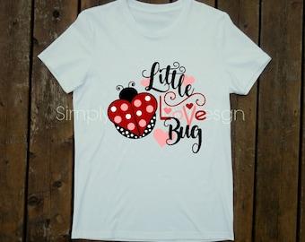Valentine shirt for girl, Little Love Bug, Valentine, Ladybug