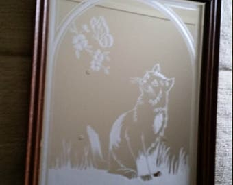 "vintage 8 1/2"" x 10 1/2"" framed etched / engraved art glass mirror w/ cat & butterfly 1970's - wall hanging frosted kitten kitty flowers"