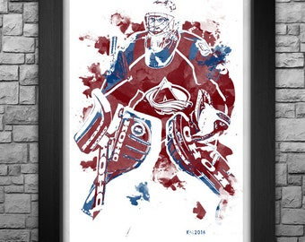 "PATRICK ROY watercolor style 11x17"" art print."