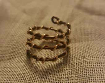 Gold wrapped bronze triple wrap wire ring size 7
