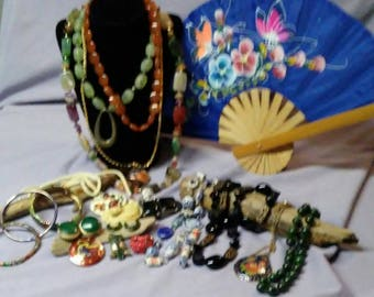 Vintage And Newer Oriental Jewelry Collection with Silk Fan