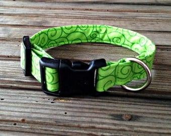 Greenery Print Fabric Dog Collar, Green Fabric Dog Collar