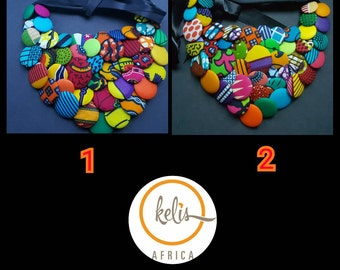 Handmade Ankara Button Bib Necklace/ African Print Button Bib Necklace/ African necklace/Women's necklace