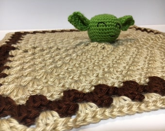 Star Wars Jedi Master Yoda Inspired Crocheted Baby Lovey With Rattle