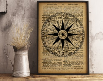 Compass Poster, Vintage illustration Dictionary Print Compass, Cotton Canvas Print, Beach House decor, Maritime print, Nautical Decor  (K20)