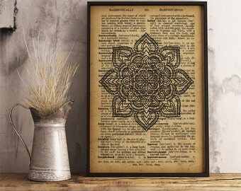 Boho style Poster, Floral Mandala Print, Spiritual wall art (MA35)