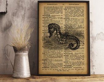 Seahorse poster Nautical wall art Vintage Art Decor Seahorse print Nautical Decor Coastal wall art Seahorse decor beach house decor  R15