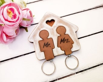 Bride groom gift ideas, Mr Mrs keychain, Newlyweds gift, Key chain holder, Home decor, Wood rustic decor, Anniversary gift for him and her