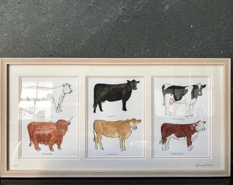 Framed Original Artwork - Cows