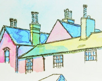 Colourful Rooftops Greetings Card. From an Original Ink Painting of Leicestershire Architecture.