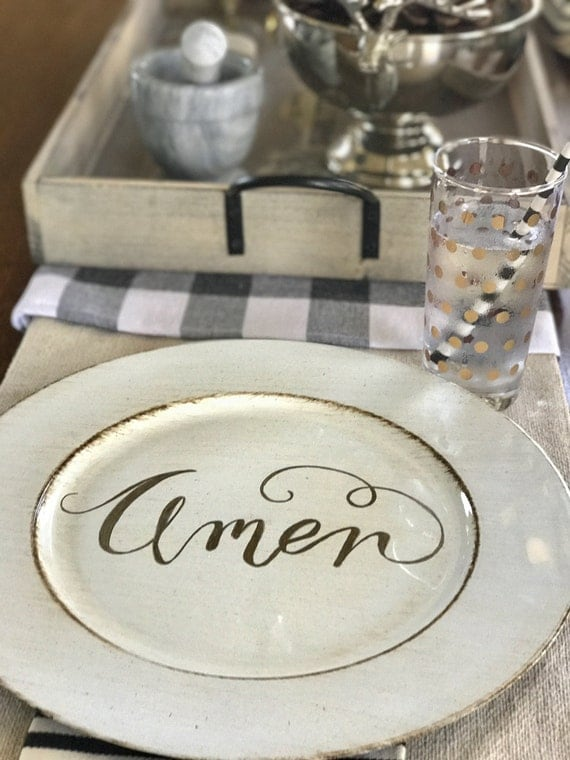 AMEN Handlettered Resin Cream/Distressed-look tray/plate/charger with Gold Metallic Lettering
