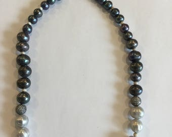 Tricolor freshwater Pearl 18 inch necklace