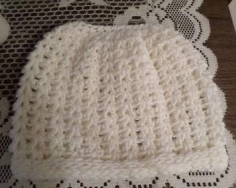 Messy Bun Pony Tail Hat Crochet Antique White