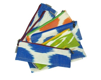 Pencil case, ikat, uzbekistan silk fabric, back to school, zipper pouch, ikat pencil case