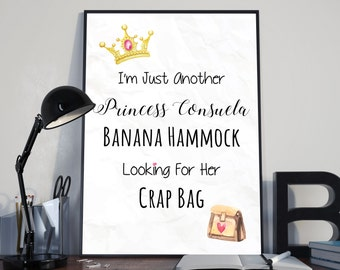 I'm just another Princess Consuela Banana Hammock looking for her Crap Bag Phoebe Buffay Friends Quote Print
