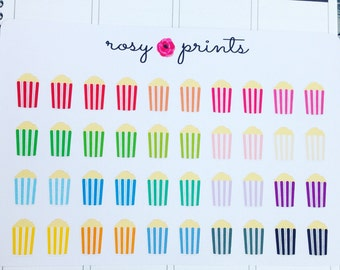 Multicoloured Popcorn Stickers - Perfect for Erin Condren Life Planners / Journals / Stickers