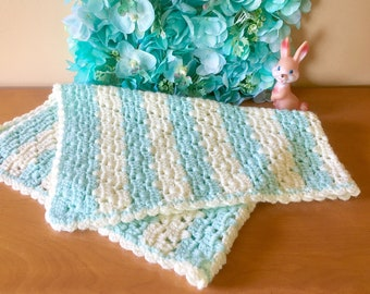 Vintage Turquoise and Cream Stripe Crocheted Baby Afghan
