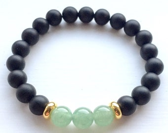 Green Aventurine and Matte Black Onyx Gemstone Stretch Bracelet 8mm Beads
