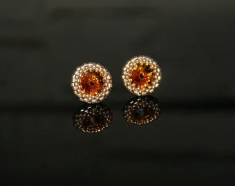 Small earrings with SWAROVSKI Crystals LIGHT TOPAZ & Japanese beads 24kt Gold Plated