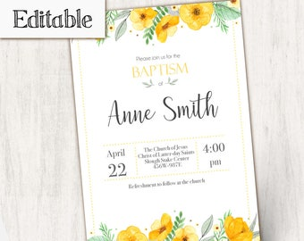 Baptism Invitation, Editable PDF, Girl Editable file, Instant Download, Girl Invitation yellow flowers, LDS Baptism Invite, No Photo Needed