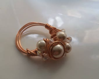 Copper Wire Wrapped Crystal and Pearl Ring