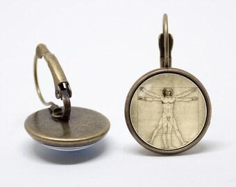 Da Vinci earrings Vitruvian man earrings Da Vinci art Vintage style Renaissance Art gift Da Vinci jewelry Art earrings Leonardo Da Vinci