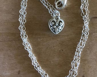Antiqued Metal Heart Necklace