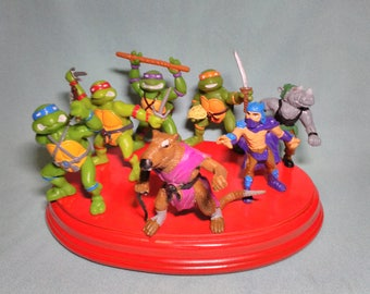 Lot of 7 old figures of the Ninja turtles brand Yolanda 1988 as new