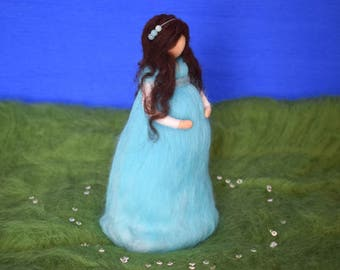 Waldorf inspired felted wool doll, Pregnant gift, Mother to be gift, Baby shower, Mother's day gift, Mother gift, Blue dress