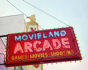 vintage neon sign, movie arcade sign, retro inspired decor, vintage marquee, vintage Vancouver, fine art photography, games room art print