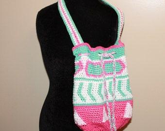 Aqua Wayuu Bag, Tapestry Crochet Bag, Crochet Purse, Drawstring Bag, Wayuu Tote, Boho Bag, Cross Body Bag