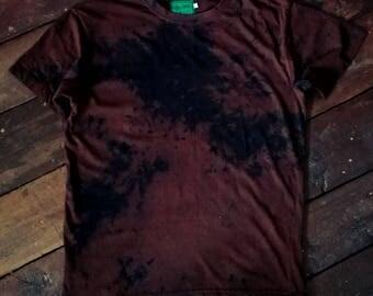 Unique hand dyed acid dye chocolate brown black t-shirt size L