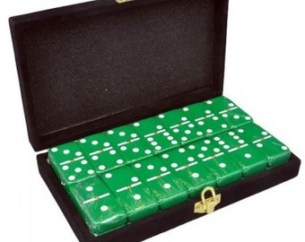 Green Dominoes in Velvet Box with Spinner