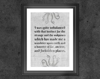 H.P. Lovecraft art print - PRINTED -  lovecraft print - lovecraft art - lovecraft quote - kitchen decor - cthulu art print - cthulu print