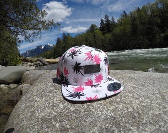 Hawaiian palm tree flat bill snapback cap with Chief Nelly leather patch