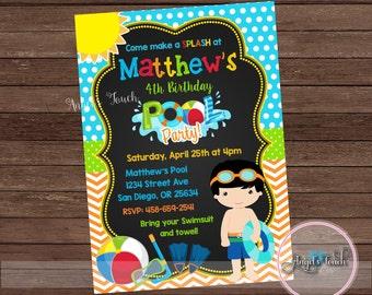 Pool Party Invitation, Boy Pool Birthday Invitation, Pool Birthday Party Invitation, Boys Pool Party Invitation, Pool Party, Digital File