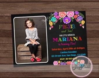 Fiesta with Picture Invitation, Fiesta Party Invitation, Mexican Fiesta Birthday Invitation, Fiesta Mexicana Invitation, Digital File
