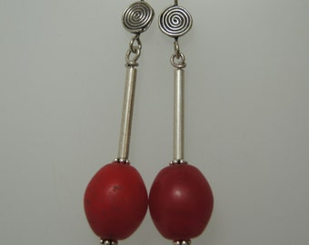 African Trade Bead Earrings E 049